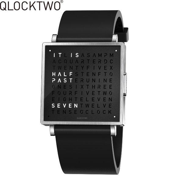 【2,000円OFFクーポン】クロックツー[QLOCKTWO]ショッピングローン無金利対象品クロックツー ウォッチ 39ミリ[QLOCKTWO W 39mm]ピュア ブラック[PURE BLACK]QW39EN6BRRUBLN 正方形 文字表示メンズ レディース【腕時計 時計】