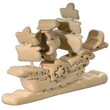ハンドメイド・木製3Dパズル-帆船-