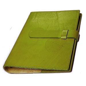 高級本革製システム手帳カバー【Impresso】A5サイズ・pea_green(緑色)