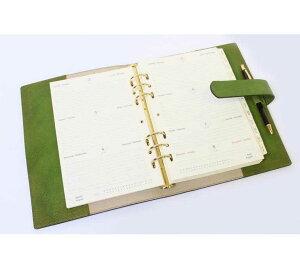 高級本革製システム手帳【Impresso】A5サイズ・pea_green(緑色)