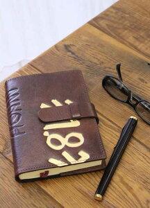 高級本革製ノートカバー(リフィルノート付)【Ikuvina】Sサイズ・アンティークフィニッシュ(茶色)/金装飾
