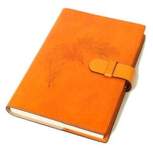 高級本革製ノートカバー(リフィルノート付)【Impresso】16×12cm(Sサイズ)mandarin(オレンジ色)