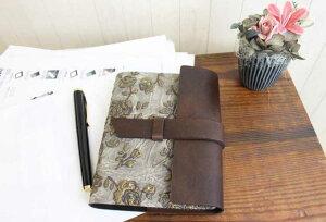 金の薔薇が映えるシックで品の良い高級本革製ノートカバーフラップタイプ(リフィルノート付)【RosaDorata】Sサイズ