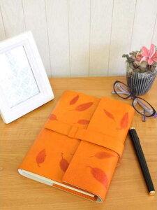 高級本革製ノートカバーフラップタイプ(リフィルノート付)【Impresso】16×12cm(Sサイズ)mandarin(オレンジ色)