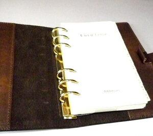 高級本革製システム手帳カバー【Ikuvina】バイブルサイズ・金装飾
