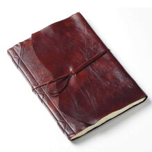 高級本革製手漉き紙ノート【Antiqua】アンティークフィニッシュ(茶色)ノートサイズ:縦35×横25cm