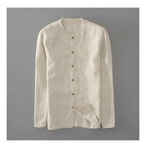 メンズ 麻100% シャツ長袖シャツ無地カジュアル 麻シャツ 3色展開 きれいめ着こなし リネン 無地 麻 シングル シャツ 黒/ベージュ/ホワイト 大きいサイズ