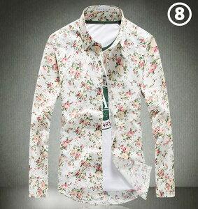 メンズ 長袖 花柄 シャツ 【M~3XL】 メンズ花柄シャツ メンズ 長袖 カジュアル シャツメンズ長袖 ワイシャツ10色