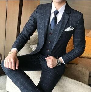 チェック柄 セットアップ 紳士服 スリムスーツ 結婚式  メンズ 細身スーツ イギリス風 テーラードジャケット 3点セット