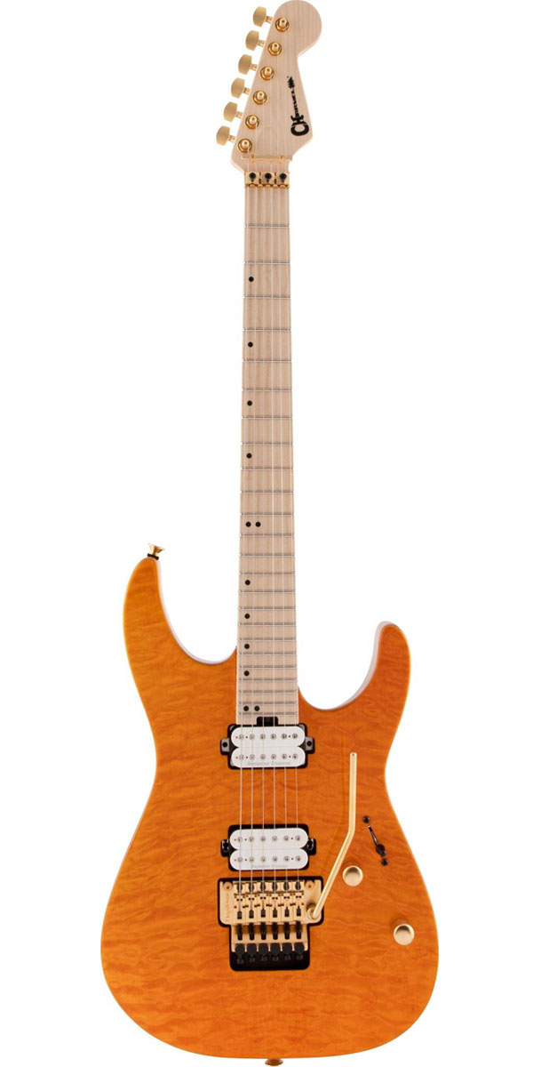 ギター, エレキギター CharvelPro-Mod DK24 HH FR M Mahogany with Quilt Maple Dark Amber