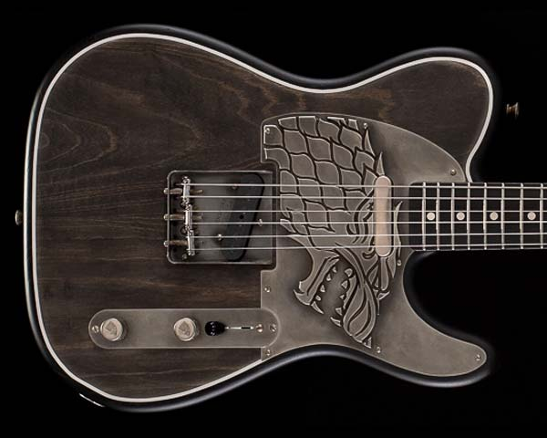 Fender Custom Shop Game of Thrones House Stark Telecaster Raven Black Masterbuilt by Ron Thorn