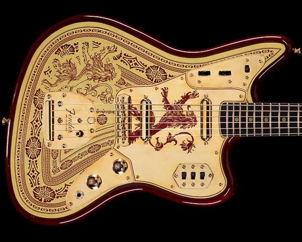 Fender Custom Shop Game of Thrones House Lannister Jaguar Burnt Crimson and Lannister Gold Masterbuilt by Ron Thorn