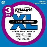 【お得3セット】D'Addario 9-42 EXL120-3D Super Light[ダダリオ][スーパーライト][エレキギター弦,string]
