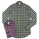 【50%OFF】Finamore(フィナモレ)SIMONE ライトネルコットン タータンチェック ウォッシュドワイドカラーシャツ