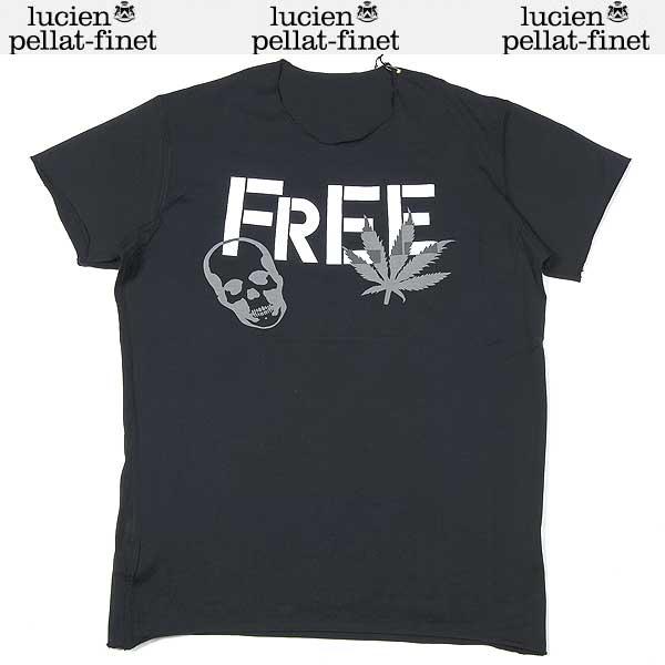 ルシアンペラフィネ( lucien pellat-finet) メンズ スカル ヘンプ(リーフ) 半袖Tシャツ EVH1090   ブラック(黒)  13S【smtb-TK】:ガッツ ブランドショップ