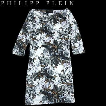 (送料無料)フィリッププレイン(PHILIPP PLEIN) レディース スカル 花柄 フラワープリント 七分袖 ワンピースドレス WP13 CW440102 01DL 13A