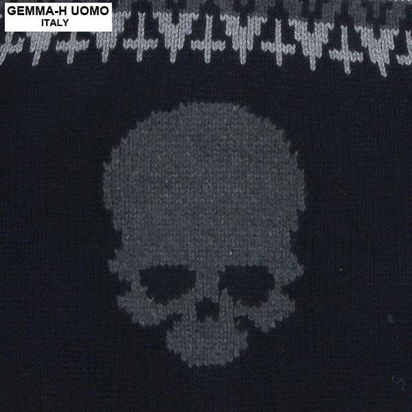 ジャンマアッカウォモ GEMMA-HUOMO  メンズ ジャガード編み ジップアップ パーカー umt cow T104 4_BLACK/WHITE 13A【smtb-TK】
