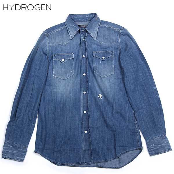 ハイドロゲン HYDROGEN  メンズ ヴィンテージスカル ダンガリーシャツ デニム ウォッシュドブルー 130450 DENIM 13A【smtb-TK】