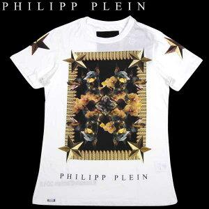 【送料無料】 フィリッププレイン(PHILIPP PLEIN) メンズ ドーベルマンプリント クルーネック半袖Tシャツ HM340002 01 ホワイト(白)  【smtb-TK】 13A