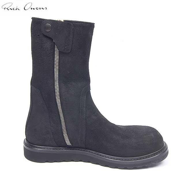 リックオウエンス RICK OWENS  メンズ スウェード サイド ジップ ブーツ 靴 ブラック RU13F08002 LMS 09 13A (R159500)【smtb-TK】