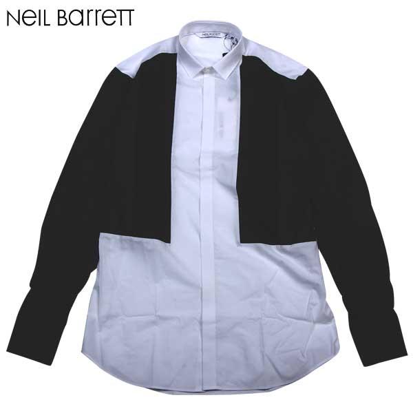 ニールバレット Neil Barrett  メンズ コットン ドレスシャツ 長袖 PBCM76C C8137 01 14S【smtb-TK】