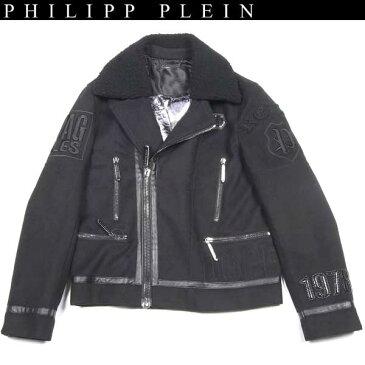 【完売】 フィリッププレイン(PHILIPP PLEIN) メンズ ボア カラー ジャケット HM211405 02 BLACK 【楽ギフ_包装】 【smtb-tk】 14A