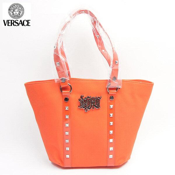 8d05c0bcade2 ヴェルサーチアクセサリー Versace ACCESSORIES トートバッグ 鞄かばん スタッズアクセサリー付トートバッグ 鞄かばん オレンジ色JV5B02  80717