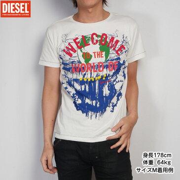 【サイズM】ディーゼル DIESEL メンズ Tシャツ 半袖 00CDZT-00DFM-129 (R8423) アイボリー