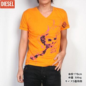 【サイズS】ディーゼル DIESEL メンズ Vネック Tシャツ 半袖 スカルプリント 00CE1L-00DFM-353 (R8423) オレンジ
