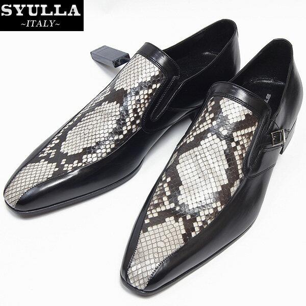 シュラ SYULLA  メンズ パイソン ドレスアップシューズ 靴 ブラック/パイソン 2258 12S (R79800)【smtb-TK】
