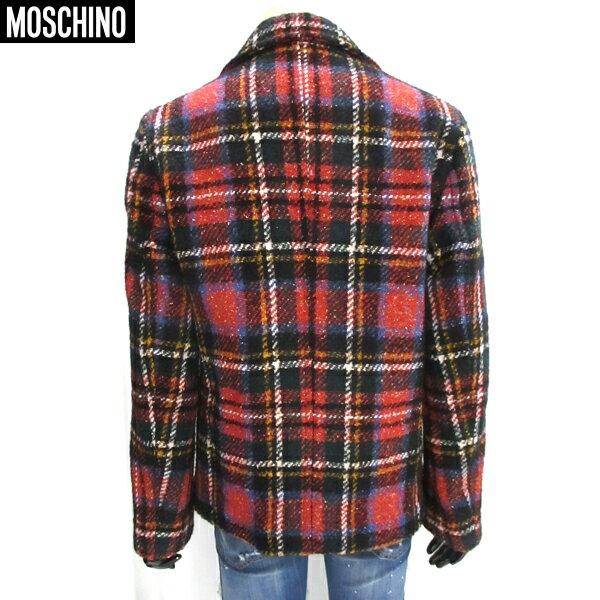 モスキーノ Moschino  メンズ ウール チェック柄 コート Pコート 赤 黒 赤チェック 色違いで青チェック有り SW1234102 19 81S【smtb-TK】