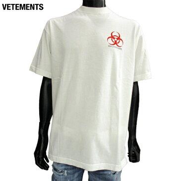 ヴェトモン VETEMENTS メンズ トップス Tシャツ 半袖 ロゴ チェスト部分Biohazard(バイオハザード)ロゴ付Tシャツ ホワイト MSS18TR36 WHITE 81S (R89000)【送料無料】【smtb-TK】