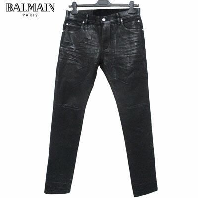 2019年春夏新作 バルマン BALMAIN メンズ ジーンズ ボトムス デニムパンツ ズボン イリディセント メダリオン ブラック ダメージ加工 ブラック 黒 RH15230 D006 0PA 91S (R98800) 【smtb-TK】
