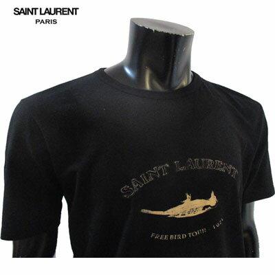 2019年春夏新作 サンローランパリ SAINT LAURENT PARIS メンズ Tシャツ トップス バード・ブランドロゴプリントTシャツ ブラック 黒 551404 YB2ZO 1095 91S (R46440)【smtb-TK】