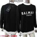 バルマン BALMAIN メンズ トップス ニット セーター ロゴ BALMAIN PARISロゴ付きクルーネックライトニット ブラック VH1KD006 K012 EAB (R129800) 21S 2021年春夏新作【送料無料】 【smtb-TK】