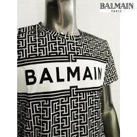 バルマン(BALMAIN)メンズトップスTシャツ半袖ロゴ※同デザインでビッグシルエットのTシャツもあります。迷路柄/BALMAINロゴ付TシャツブラックVH0EF000B088GAB(R80300)1212021年春夏新作【送料無料】【smtb-TK】