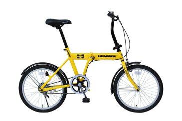 HUMMER ハマー 折りたたみ自転車 イエローサイズ組み立て時:約152×56×94.5cm 折りたたみ時:約82×37×58cm仕様20インチ 重さ:約14kg 材質:スチール
