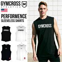 GYMCROSSジムクロストレーニングフィットネスウェアプリントノースリーブシャツメンズgc-085
