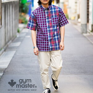 gymmaster(ジムマスター)公式2WAYショールカラーS/Sシャツ|メンズ|レディース|ユニセックス|バンドカラー|レギュラーカラー|トップス|シャツ|春夏|カジュアル|無地|チェック|胸ポケット|G499630
