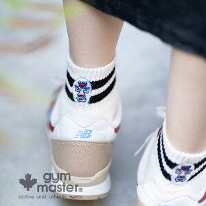 gymmaster(ジムマスター)ハッピー刺繍ラインソックス 靴下 ショートソックス ユニセックス 覆面レスラー アスリート ボーダー ロゴ入り ギフト プレゼント G366622
