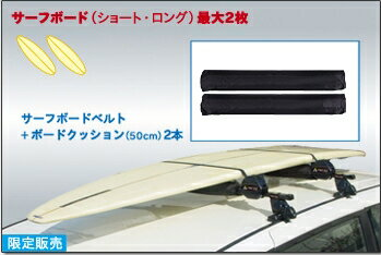 PIAA TERZO EM45 サーフボード積載用キット(最大2枚積)[カラー:ブラック](サーフボードベルト+ボードクッション50cmx2)