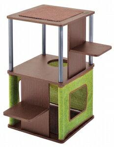 ペティオnecocoコーナーや壁ぎわに置きやすいキャットリビングタワーロータイプ
