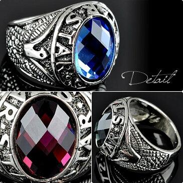 オーバルリング 指輪 メンズ シルバー ジルコニア ストーン ブルー パープル ブラック