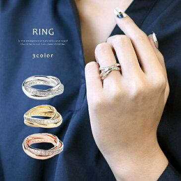 リング レディース ジルコニア 流星 輝き 豪華 3連 ピンクゴールド ブランドストーン 指輪 ブランド プレゼント 女性