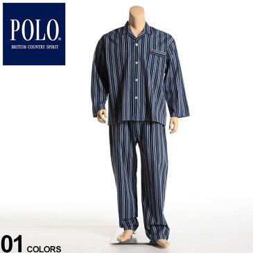 大きいサイズ メンズ POLO BCS (ポロ ビーシーエス) 綿100% ビエラストライプ 前開き パジャマ 上下セット パジャマ セット ルームウェア ロングパンツ 長袖 ストライプ コットン BT12012PH