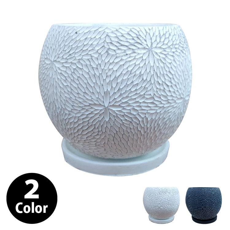 植木鉢 おしゃれ コンクリートポット CC035-220 7号(22cm) / 陶器鉢 白 黒 丸形 セメント