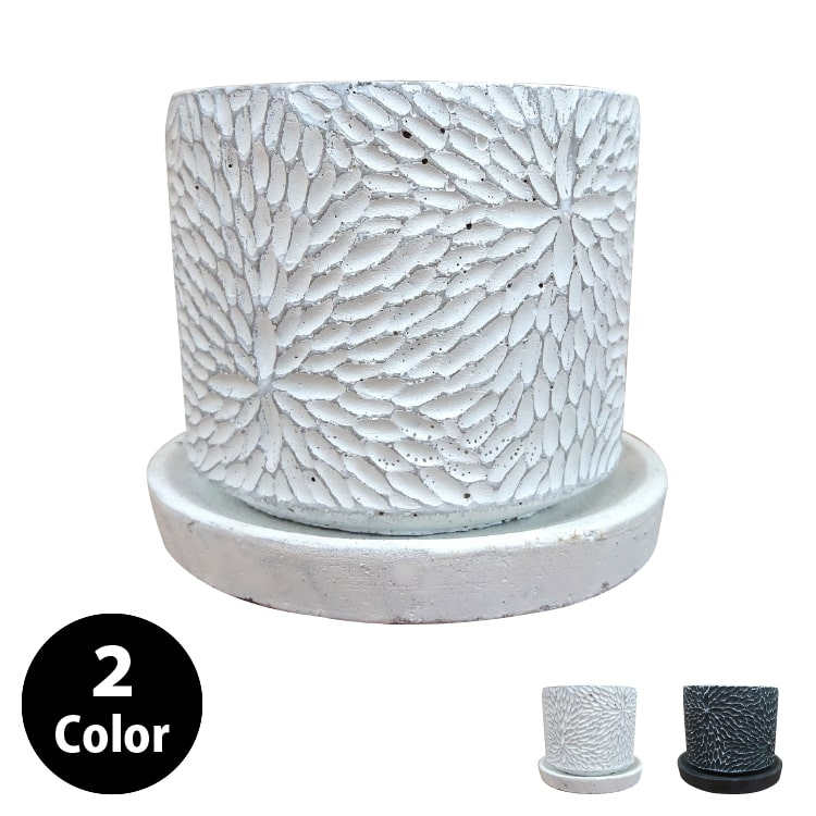 植木鉢 おしゃれ コンクリートポット CC036-140 4.5号(14cm) / 陶器鉢 白 黒 セメント