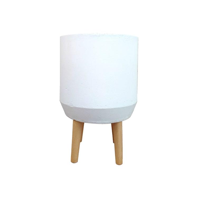 植木鉢 おしゃれ グラスファイバー製の鉢カバー ST9854-300 10号(30cm) / 陶器鉢 白 大型 脚付き フラワースタンド セメント コンクリート