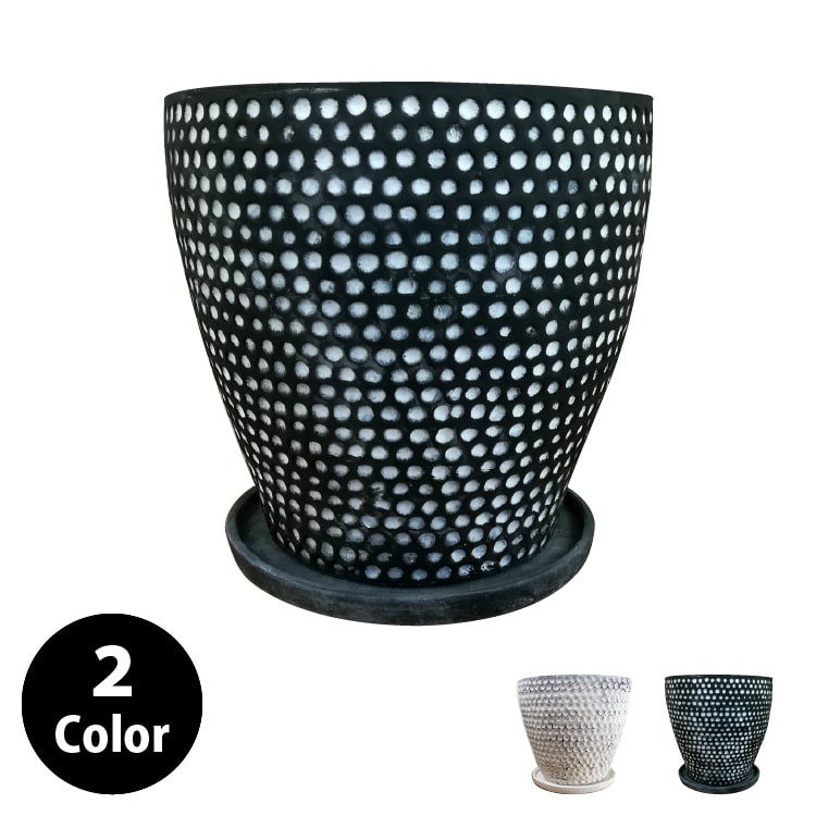 植木鉢 おしゃれ 10号用鉢カバー YS1894-395 13号(40cm) / 陶器鉢 大型 白 黒 鉢カバー