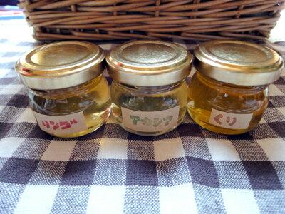 あかしあ(R1採蜜)・栗・りんご(R1採蜜)ハチミツ!!3種ミニセットの蜂蜜です。内容量35g×3個